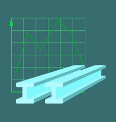 flat icon on stylish background falling graph vector image