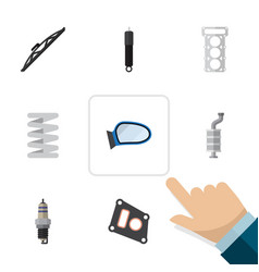flat parts set of gasket auto component packing vector image