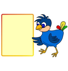Little bird pointing to message board vector image vector image