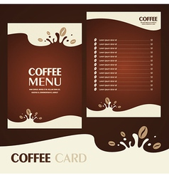 menu coffee card vector image vector image