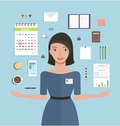 Office manager woman working and supplies objects vector