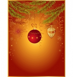red Christmas background with fir vector image