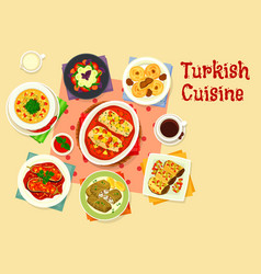 Turkish cuisine tasty lunch icon design vector