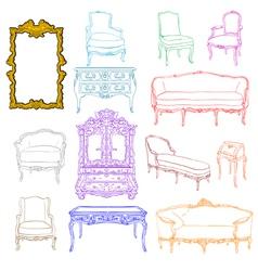 authentic rococo furniture vector image
