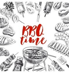 Hand drawn grill and barbecue vector