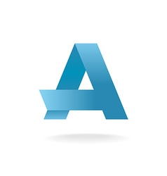 Letter A logo template Vlue straight origami vector image