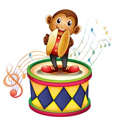 A monkey above a drum with cymbals vector image