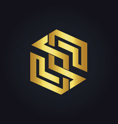 Abstract shape geometry gold logo vector