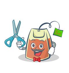 barber tea bag character cartoon vector image vector image