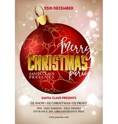 Merry Christmas party poster design template with vector image vector image