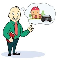Mortgage and credit concept Man planning his vector image vector image