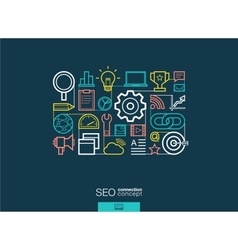 SEO integrated thin line symbols Modern linear vector image vector image