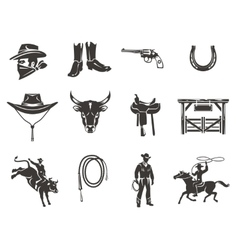 Set rodeo icons vector