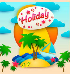 vacation on the island postcard vector image vector image