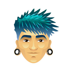 asian man with blue hair and tunnels in ears vector image