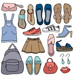 Clothes and shoes doodle vector image vector image
