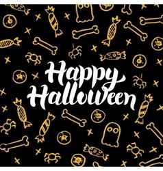 Happy halloween gold black postcard vector