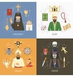 Religions Concept 4 Flat Icons Square vector image vector image