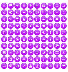 100 sailing vessel icons set purple vector