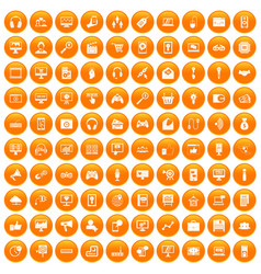 100 web and mobile icons set orange vector image