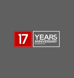 17 years anniversary in square with white and red vector