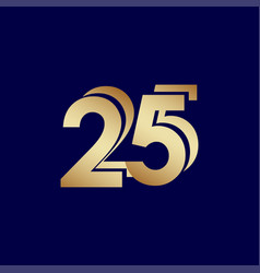 25 years anniversary celebration blue gold vector