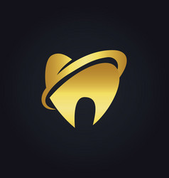 Abstract tooth dentist gold logo vector