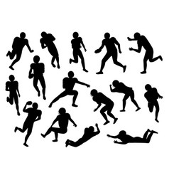 american football players silhouette gridiron set vector image