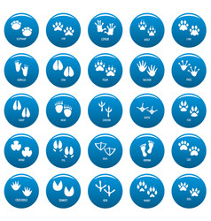 animal footprint icons set blue simple vector image