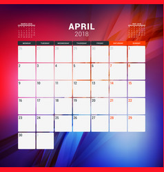 april 2018 calendar planner design template with vector image