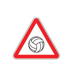Attention volleyball danger red road sign games vector