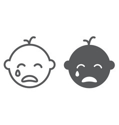 Baby boy cry line and glyph icon emotion vector