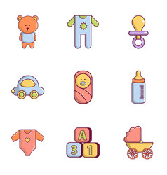 Baby equipment icons set flat style vector