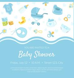 Baby shower invitation banner template light blue vector