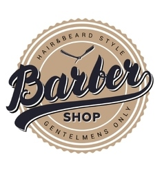 Barber shop retro vintage label badge emblem or vector