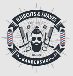 barbershop poster banner label badge or emblem vector image