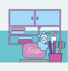Bathroom soap foam toothbrushes drawers and towels vector