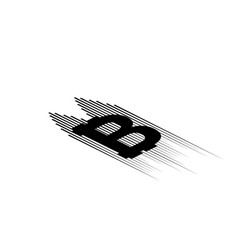 bitcoin coin with fast speed motion lines and vector image