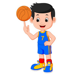 Boy basketball player vector