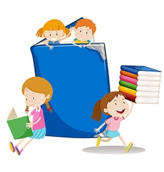 Boys and girls with big book vector