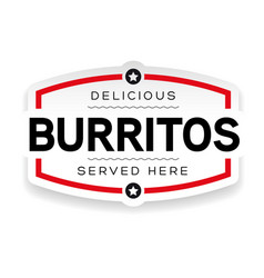 burritos vintage sign label vector image