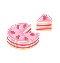 cake with strawberries sweet dessert piece of vector image