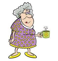Cartoon old lady holding a mug vector