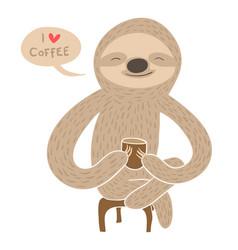 cartoon sloth having coffee vector image