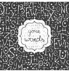 Chalkboard alphabet letters white frame seamless vector image