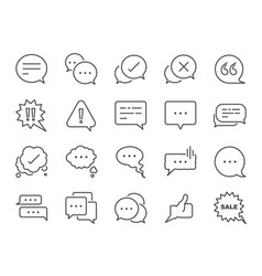 Chat and quote line icon set vector