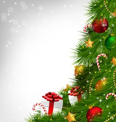 Christmas tree with adornments on grayscale vector
