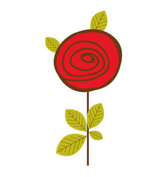 Colorful drawing red rose with leaves and stem vector