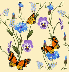 Cornflower viola forget-me-not flowers vector