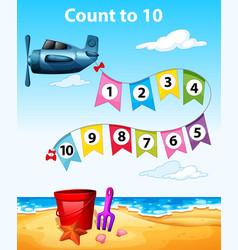 Count to 10 plane scene vector